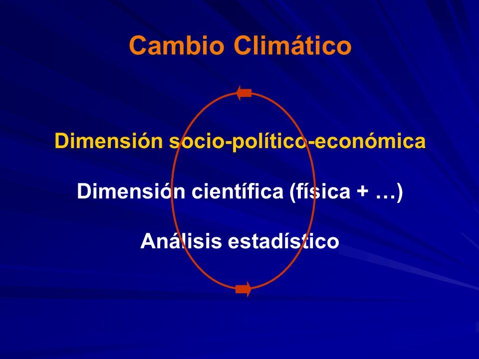 Cambio Climático Dimensión socio-político-económica Dimensión científica (física + …) Análisis estadístico