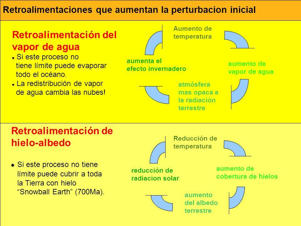 Retroalimentaciones que aumentan la perturbacion inicial Retroalimentación del vapor de agua Si este proceso no tiene límite puede evaporar todo el oc