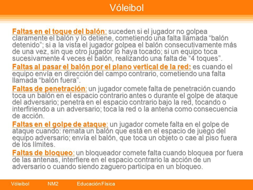 Vóleibol NM2 Educación Física Vóleibol Faltas en el toque del balón: suceden si el jugador no golpea claramente el balón y lo detiene, cometiendo una