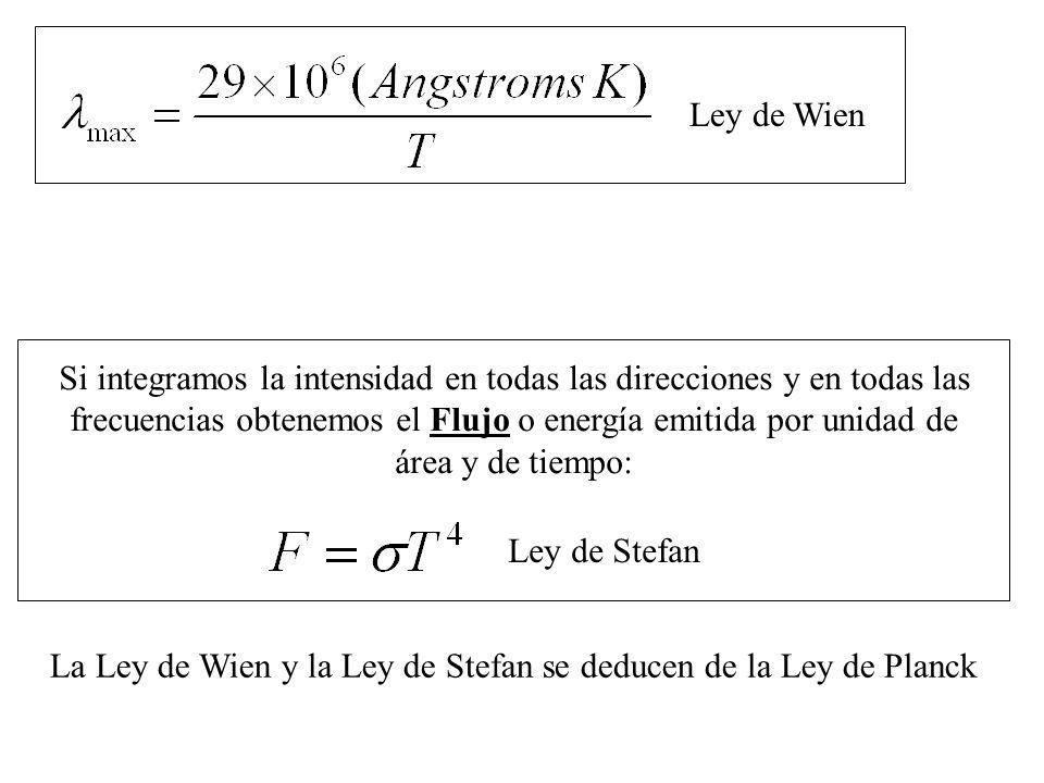 Si integramos la intensidad en todas las direcciones y en todas las frecuencias obtenemos el Flujo o energía emitida por unidad de área y de tiempo: L