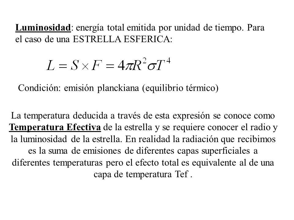 La temperatura deducida a través de esta expresión se conoce como Temperatura Efectiva de la estrella y se requiere conocer el radio y la luminosidad