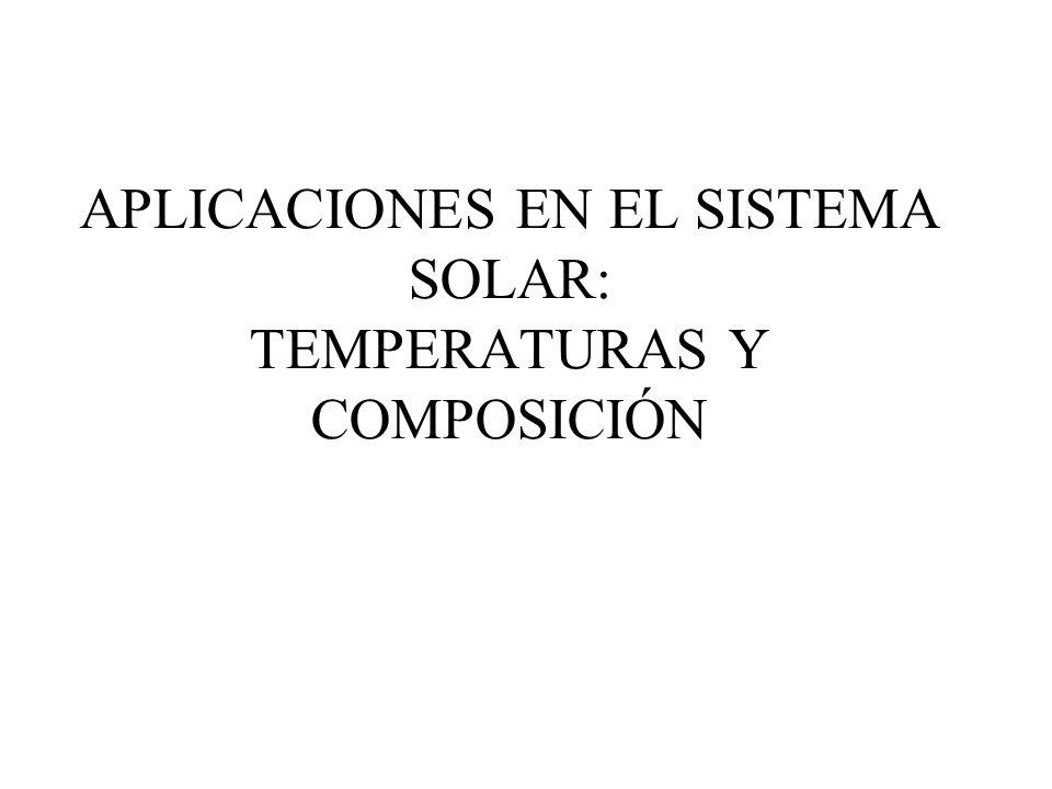 APLICACIONES EN EL SISTEMA SOLAR: TEMPERATURAS Y COMPOSICIÓN
