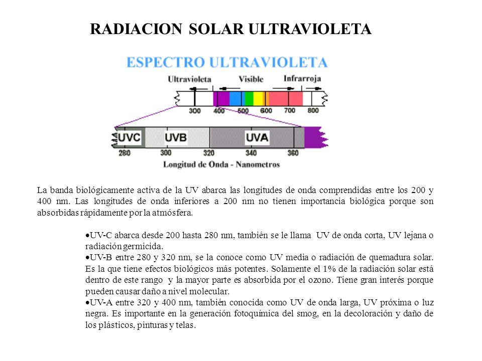 RADIACION SOLAR ULTRAVIOLETA La banda biológicamente activa de la UV abarca las longitudes de onda comprendidas entre los 200 y 400 nm. Las longitudes
