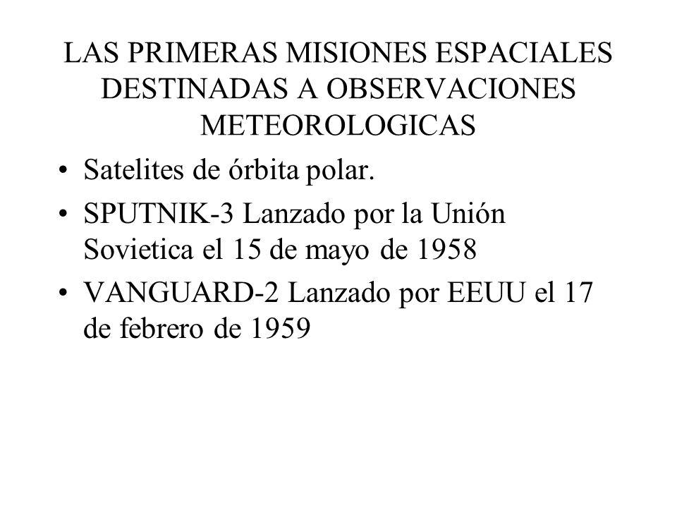 LAS PRIMERAS MISIONES ESPACIALES DESTINADAS A OBSERVACIONES METEOROLOGICAS Satelites de órbita polar. SPUTNIK-3 Lanzado por la Unión Sovietica el 15 d