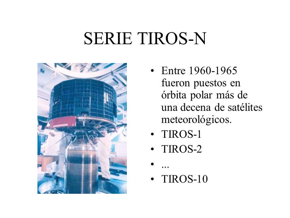 SERIE TIROS-N Entre 1960-1965 fueron puestos en órbita polar más de una decena de satélites meteorológicos. TIROS-1 TIROS-2... TIROS-10