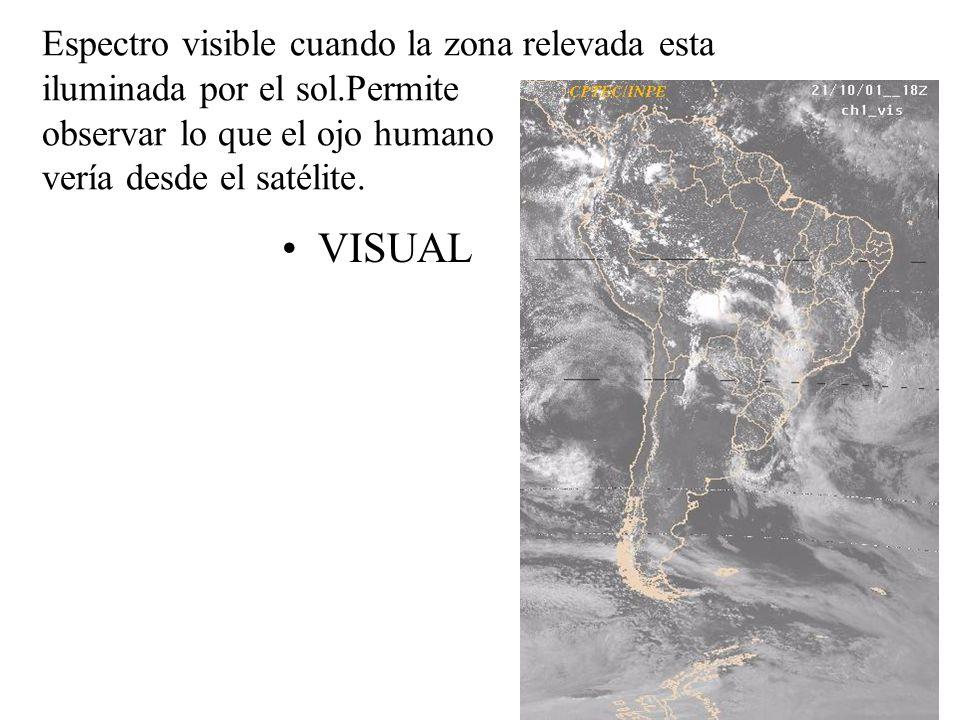 Espectro visible cuando la zona relevada esta iluminada por el sol.Permite observar lo que el ojo humano vería desde el satélite. VISUAL