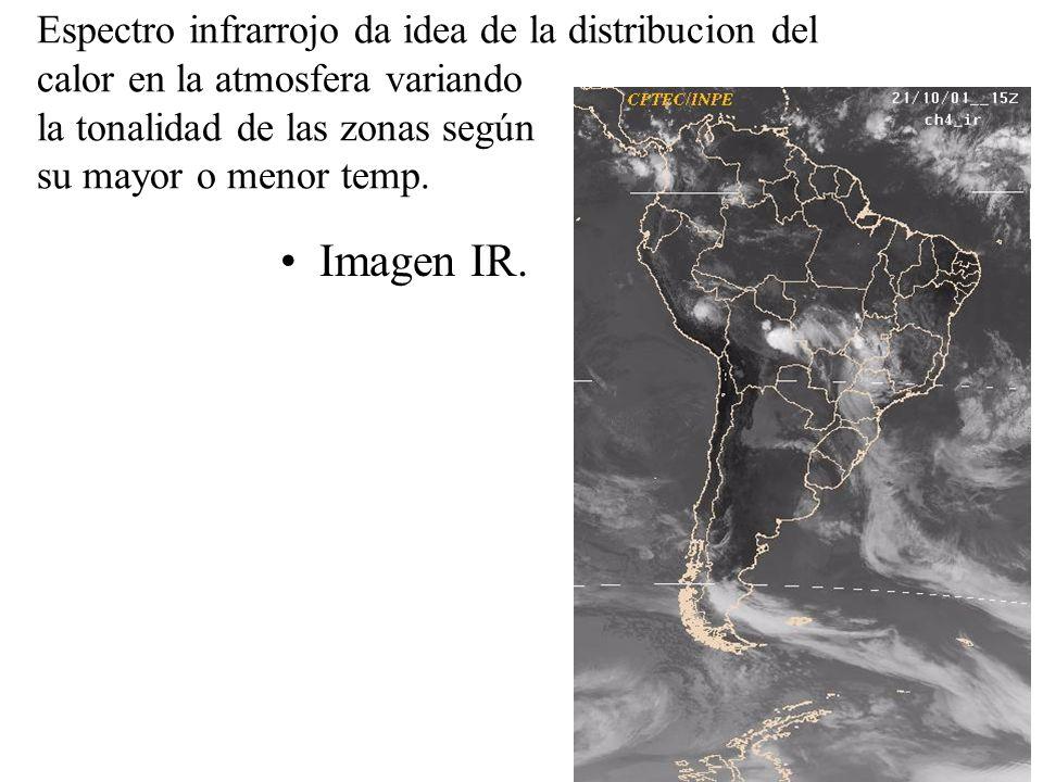 Espectro infrarrojo da idea de la distribucion del calor en la atmosfera variando la tonalidad de las zonas según su mayor o menor temp. Imagen IR.