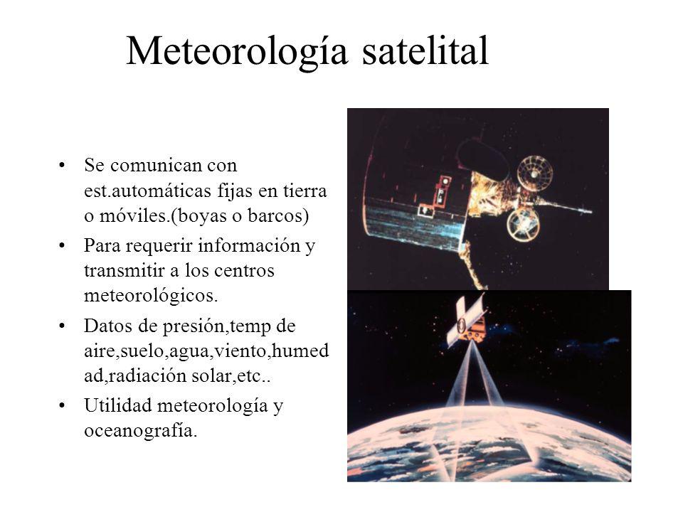 Meteorología satelital Se comunican con est.automáticas fijas en tierra o móviles.(boyas o barcos) Para requerir información y transmitir a los centro