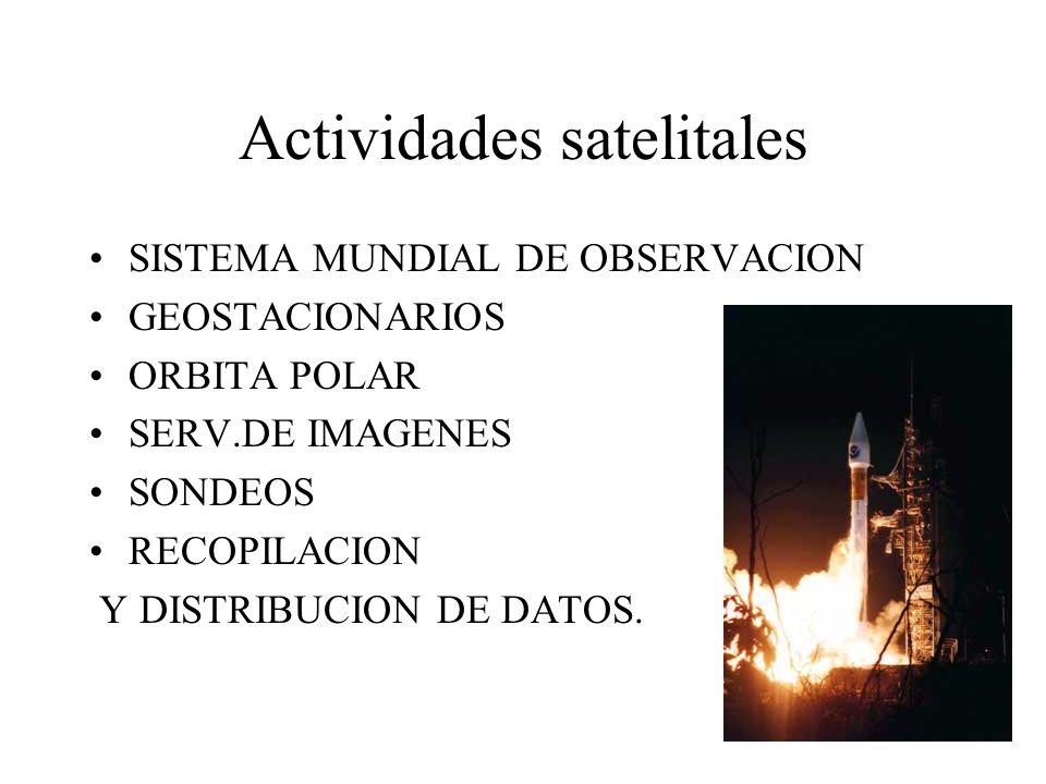Actividades satelitales SISTEMA MUNDIAL DE OBSERVACION GEOSTACIONARIOS ORBITA POLAR SERV.DE IMAGENES SONDEOS RECOPILACION Y DISTRIBUCION DE DATOS.