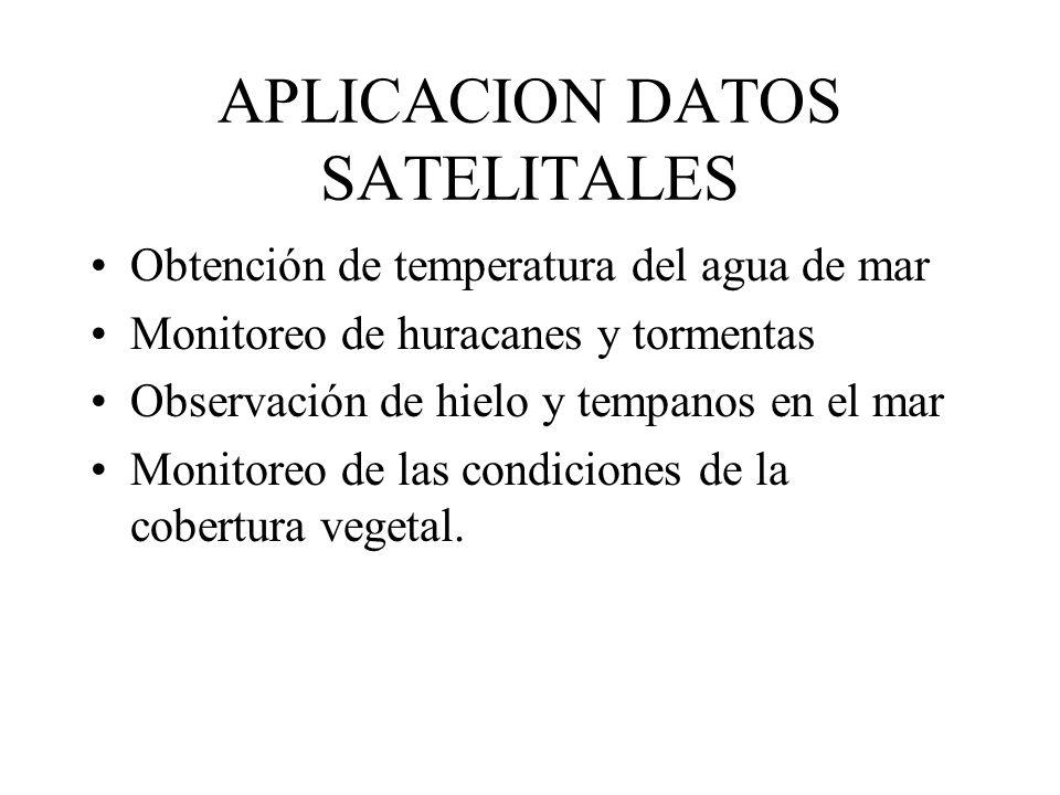 APLICACION DATOS SATELITALES Obtención de temperatura del agua de mar Monitoreo de huracanes y tormentas Observación de hielo y tempanos en el mar Mon