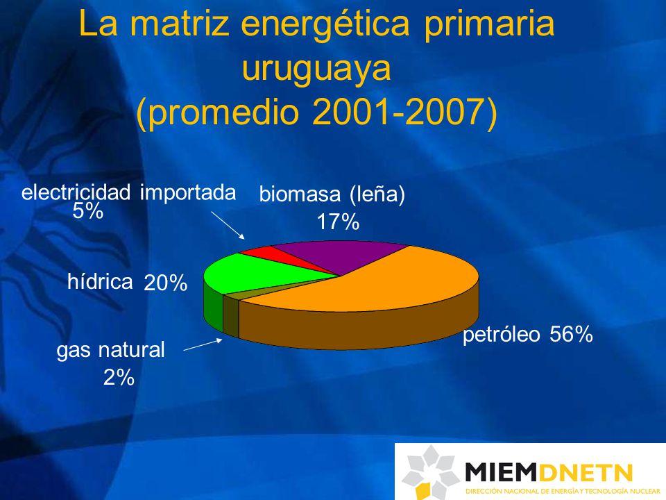 La matriz energética primaria uruguaya (promedio 2001-2007) petróleo56% biomasa (leña) 17% electricidad importada hídrica gas natural 5% 20% 2%