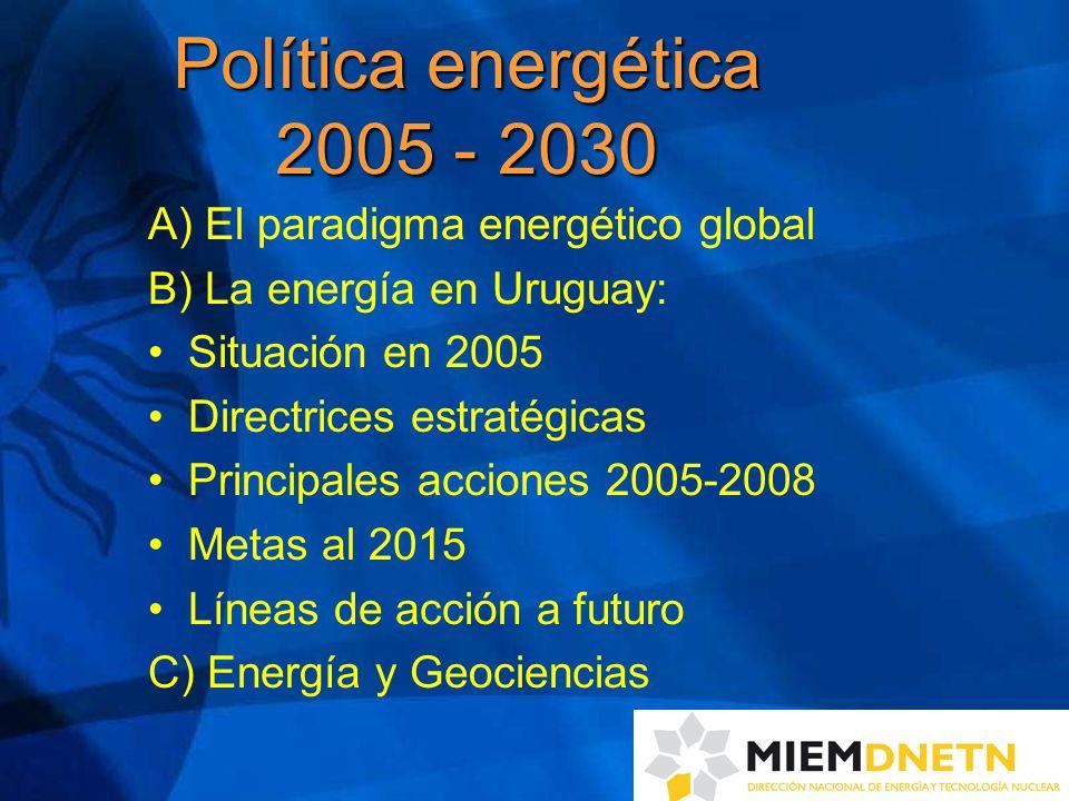 A) El paradigma energético global B) La energía en Uruguay: Situación en 2005 Directrices estratégicas Principales acciones 2005-2008 Metas al 2015 Líneas de acción a futuro C) Energía y Geociencias Política energética 2005 - 2030