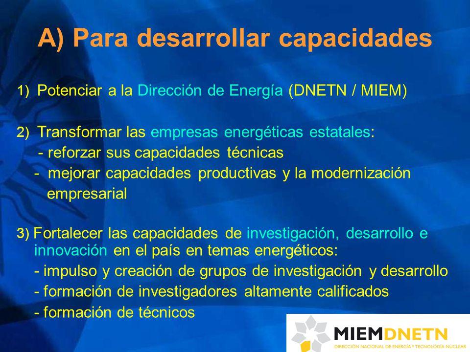 A) Para desarrollar capacidades 1) Potenciar a la Dirección de Energía (DNETN / MIEM) 2) Transformar las empresas energéticas estatales: - reforzar sus capacidades técnicas - mejorar capacidades productivas y la modernización empresarial 3) Fortalecer las capacidades de investigación, desarrollo e innovación en el país en temas energéticos: - impulso y creación de grupos de investigación y desarrollo - formación de investigadores altamente calificados - formación de técnicos