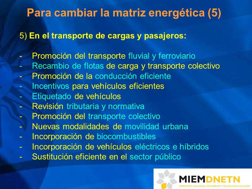 Para cambiar la matriz energética (5) 5) En el transporte de cargas y pasajeros: -Promoción del transporte fluvial y ferroviario -Recambio de flotas de carga y transporte colectivo -Promoción de la conducción eficiente -Incentivos para vehículos eficientes -Etiquetado de vehículos -Revisión tributaria y normativa -Promoción del transporte colectivo -Nuevas modalidades de movilidad urbana -Incorporación de biocombustibles -Incorporación de vehículos eléctricos e híbridos -Sustitución eficiente en el sector público