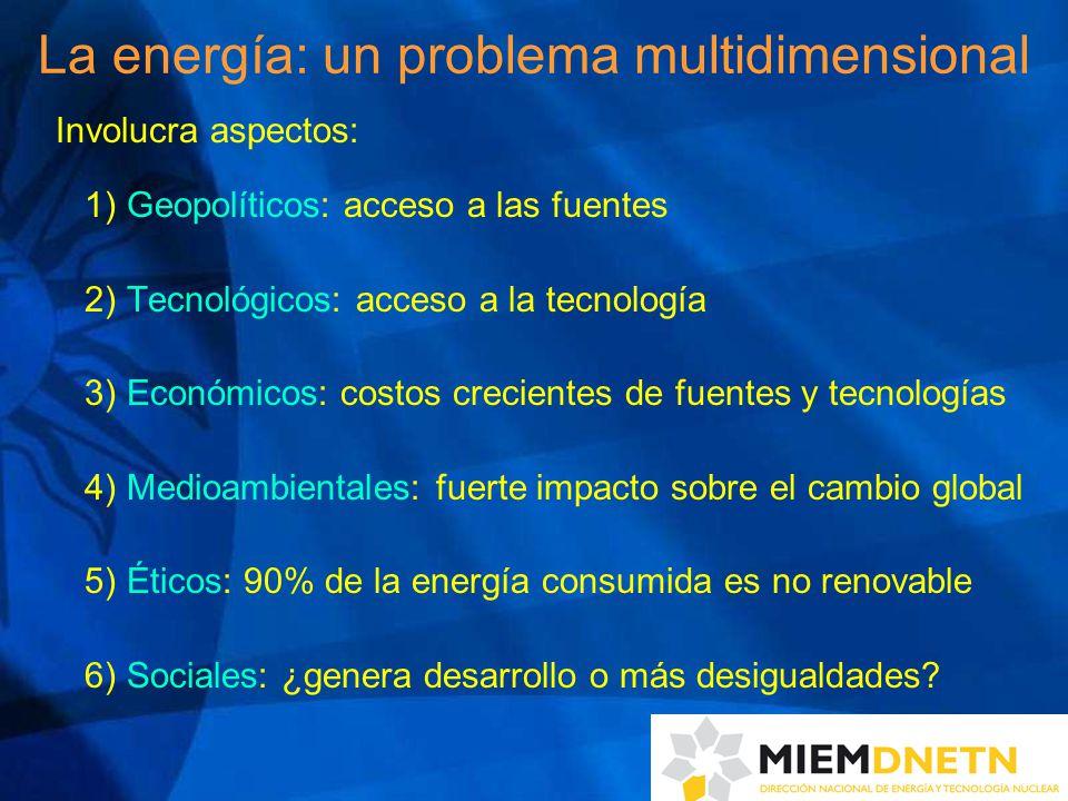 La energía: un problema multidimensional Involucra aspectos: 1) Geopolíticos: acceso a las fuentes 2) Tecnológicos: acceso a la tecnología 3) Económicos: costos crecientes de fuentes y tecnologías 4) Medioambientales: fuerte impacto sobre el cambio global 5) Éticos: 90% de la energía consumida es no renovable 6) Sociales: ¿genera desarrollo o más desigualdades