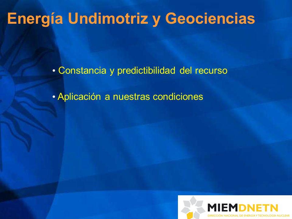 Energía Undimotriz y Geociencias Constancia y predictibilidad del recurso Aplicación a nuestras condiciones