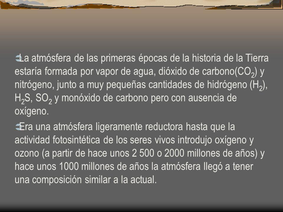 La atmósfera de las primeras épocas de la historia de la Tierra estaría formada por vapor de agua, dióxido de carbono(CO 2 ) y nitrógeno, junto a muy