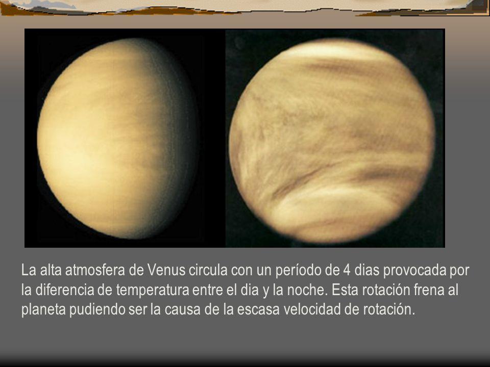 La alta atmosfera de Venus circula con un período de 4 dias provocada por la diferencia de temperatura entre el dia y la noche. Esta rotación frena al
