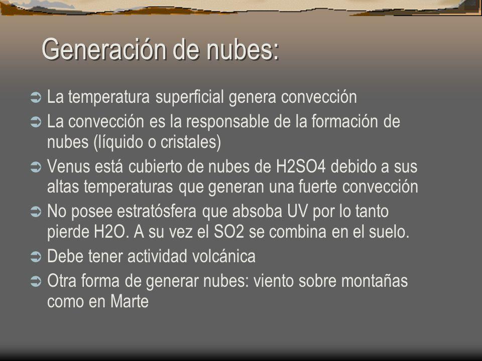 Generación de nubes: La temperatura superficial genera convección La convección es la responsable de la formación de nubes (líquido o cristales) Venus