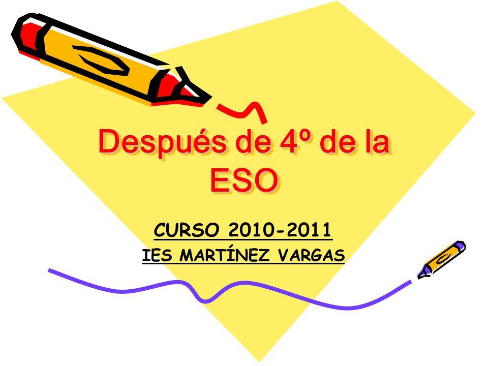 Después de 4º de la ESO CURSO 2010-2011 IES MARTÍNEZ VARGAS