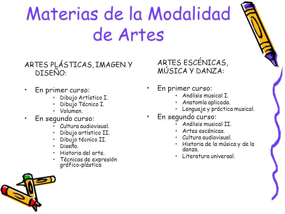 Materias de la Modalidad de Artes ARTES PLÁSTICAS, IMAGEN Y DISEÑO: En primer curso: Dibujo Artístico I.
