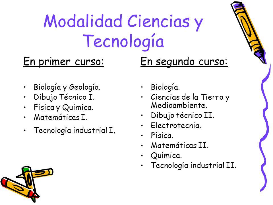 Modalidad Ciencias y Tecnología En primer curso: Biología y Geología.