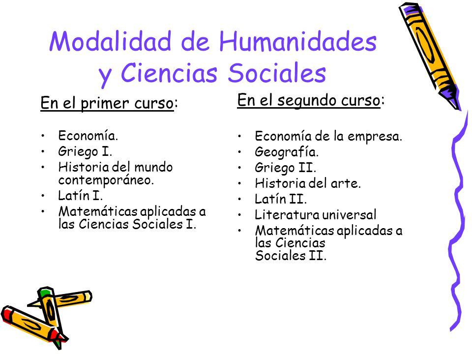 Modalidad de Humanidades y Ciencias Sociales En el primer curso: Economía.