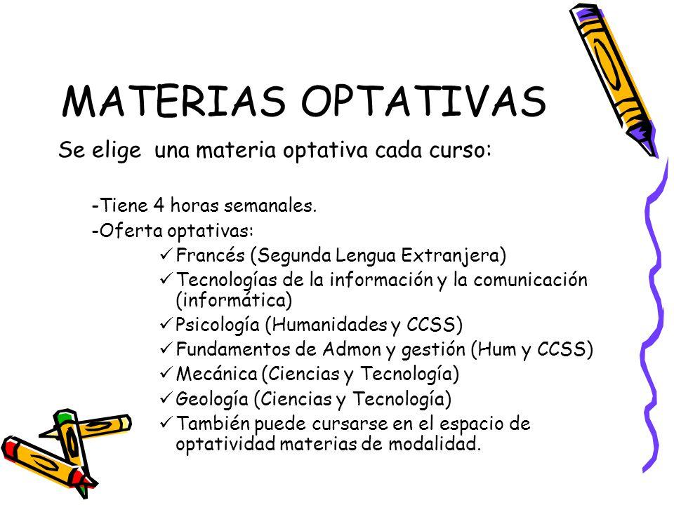 MATERIAS OPTATIVAS Se elige una materia optativa cada curso: -Tiene 4 horas semanales.