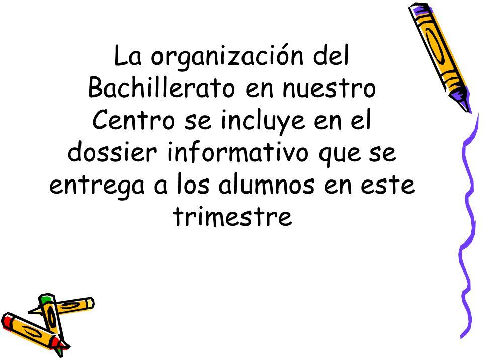 La organización del Bachillerato en nuestro Centro se incluye en el dossier informativo que se entrega a los alumnos en este trimestre