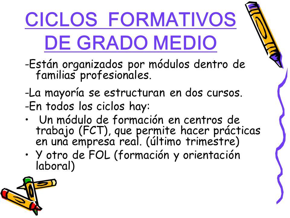 CICLOS FORMATIVOS DE GRADO MEDIO -Están organizados por módulos dentro de familias profesionales.