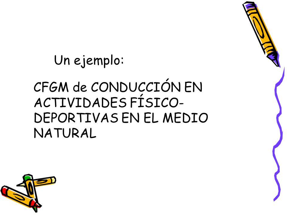 Un ejemplo: CFGM de CONDUCCIÓN EN ACTIVIDADES FÍSICO- DEPORTIVAS EN EL MEDIO NATURAL