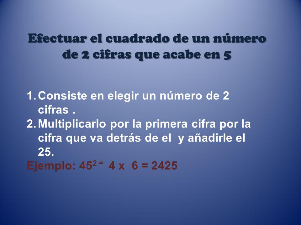 Efectuar el cuadrado de un número de 2 cifras que acabe en 5 1.Consiste en elegir un número de 2 cifras. 2.Multiplicarlo por la primera cifra por la c