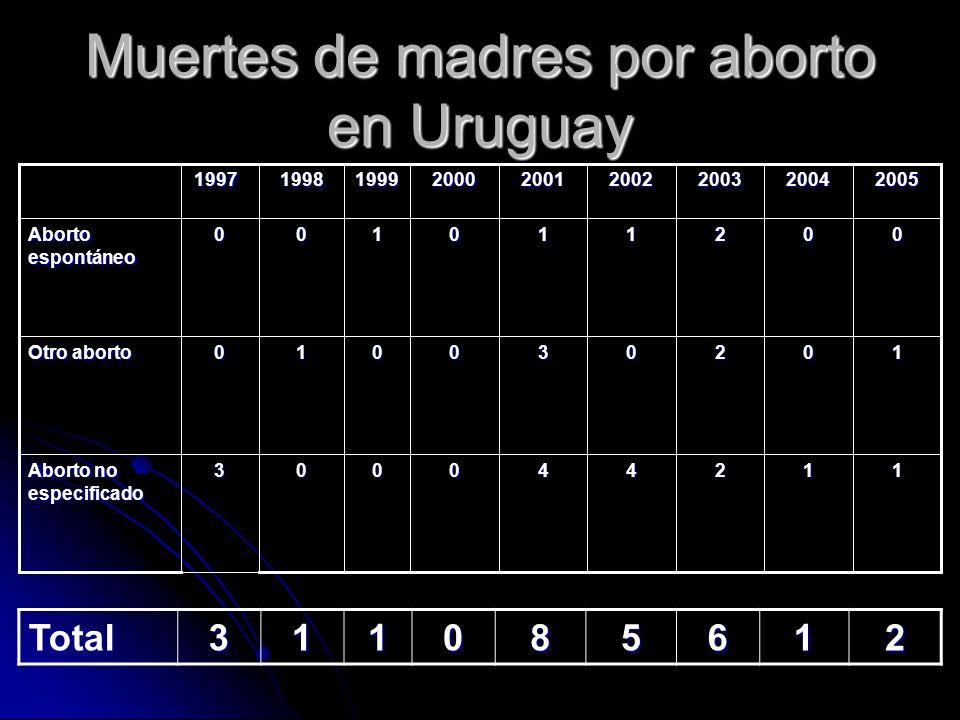 Muertes de madres por aborto en Uruguay 112440003 Aborto no especificado 102030010 Otro aborto 002110100 Aborto espontáneo 200520042003200220012000199