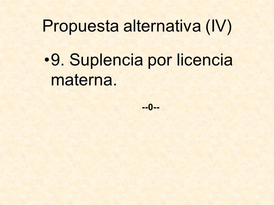 Propuesta alternativa (IV) 9. Suplencia por licencia materna. --0--