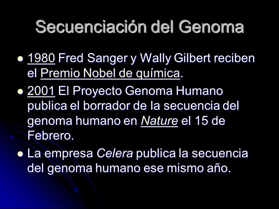 Secuenciación del Genoma 1980 Fred Sanger y Wally Gilbert reciben el Premio Nobel de química. 1980 Fred Sanger y Wally Gilbert reciben el Premio Nobel