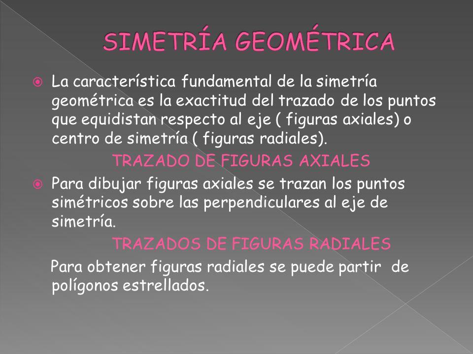 La característica fundamental de la simetría geométrica es la exactitud del trazado de los puntos que equidistan respecto al eje ( figuras axiales) o