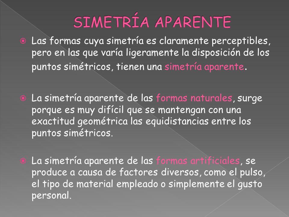 Las formas cuya simetría es claramente perceptibles, pero en las que varía ligeramente la disposición de los puntos simétricos, tienen una simetría ap