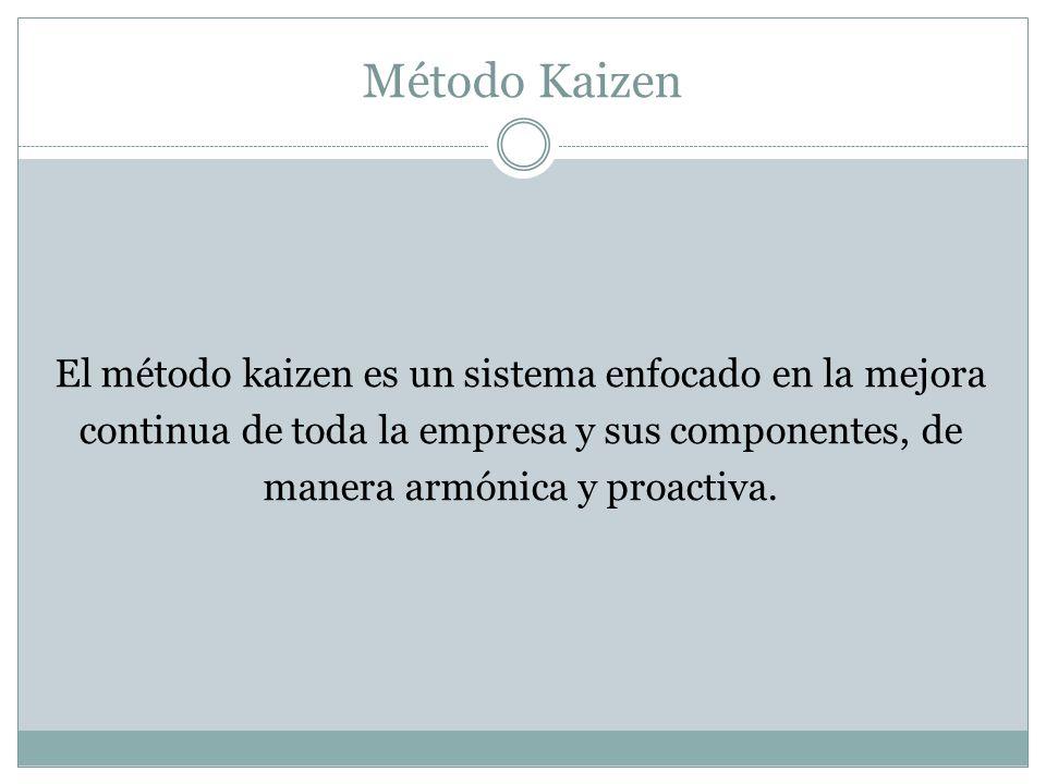 Método Kaizen El método kaizen es un sistema enfocado en la mejora continua de toda la empresa y sus componentes, de manera armónica y proactiva.