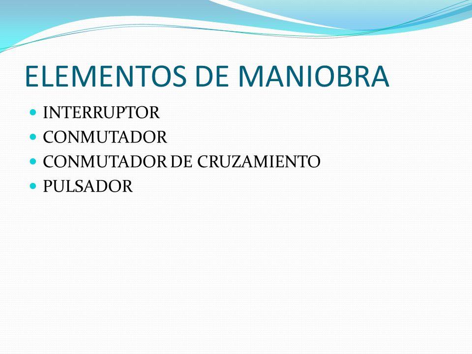 ELEMENTOS DE MANIOBRA INTERRUPTOR CONMUTADOR CONMUTADOR DE CRUZAMIENTO PULSADOR