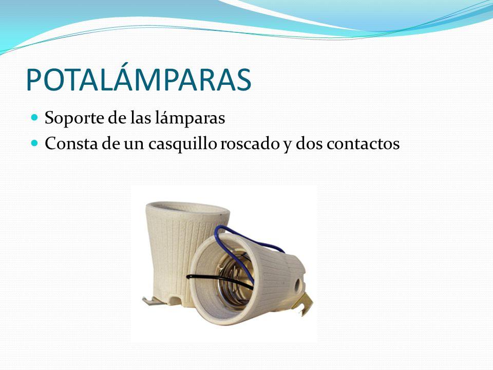 POTALÁMPARAS Soporte de las lámparas Consta de un casquillo roscado y dos contactos