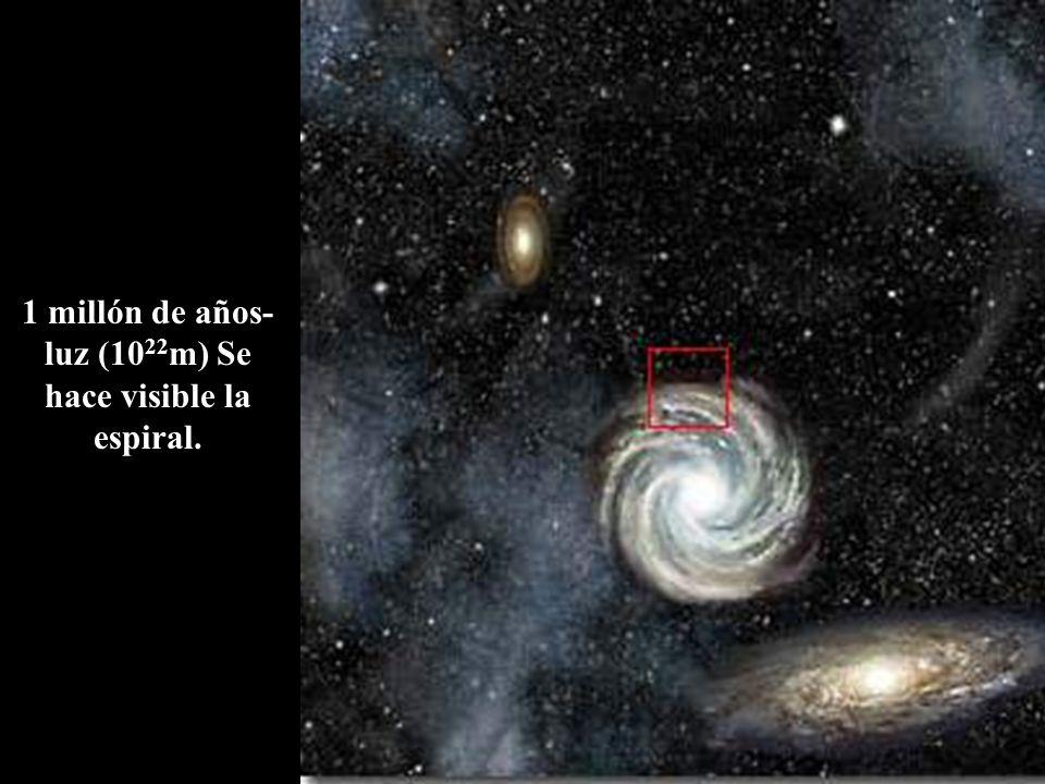 1 millón de años- luz (10 22 m) Se hace visible la espiral.