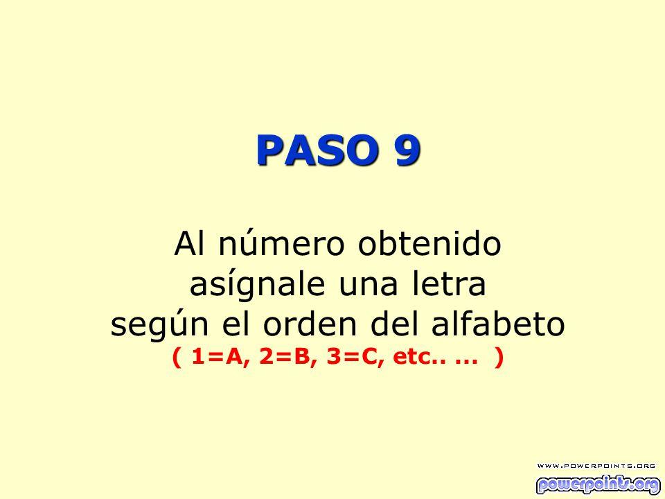 PASO 9 PASO 9 Al número obtenido asígnale una letra según el orden del alfabeto ( 1=A, 2=B, 3=C, etc..... )