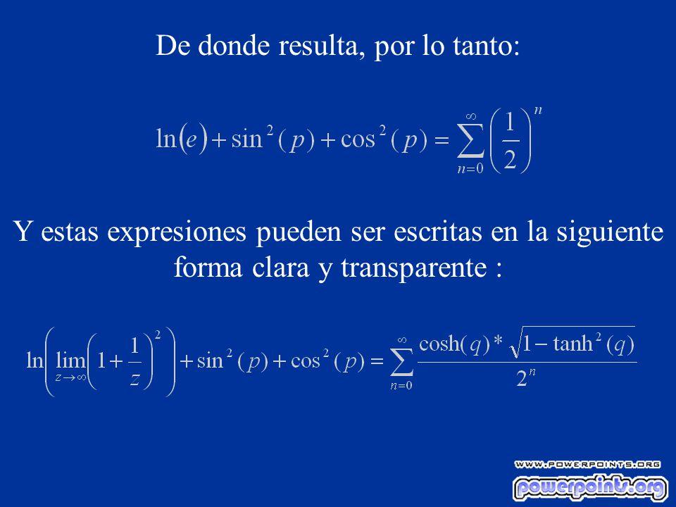 De donde resulta, por lo tanto: Y estas expresiones pueden ser escritas en la siguiente forma clara y transparente :