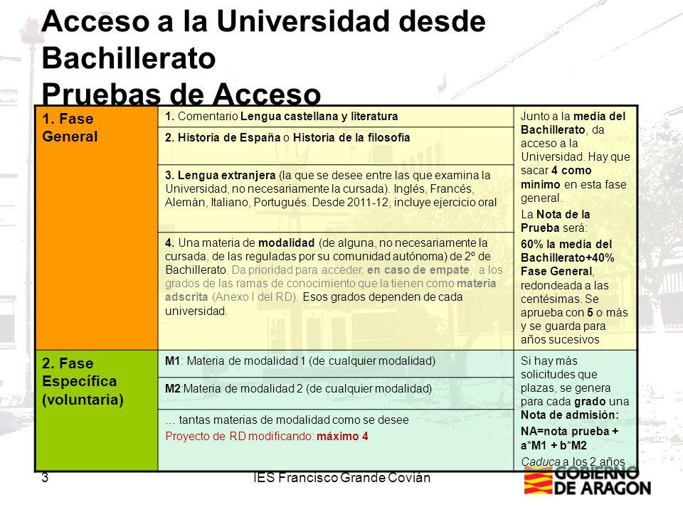 3IES Francisco Grande Covián Acceso a la Universidad desde Bachillerato Pruebas de Acceso 1.