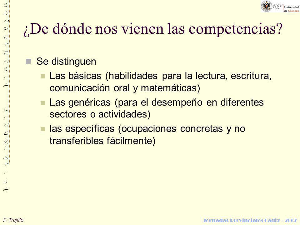 F. Trujillo COMPETENCIALINGÜÍSTICACOMPETENCIALINGÜÍSTICA Jornadas Provinciales Cádiz - 2007 ¿De dónde nos vienen las competencias? Se distinguen Las b