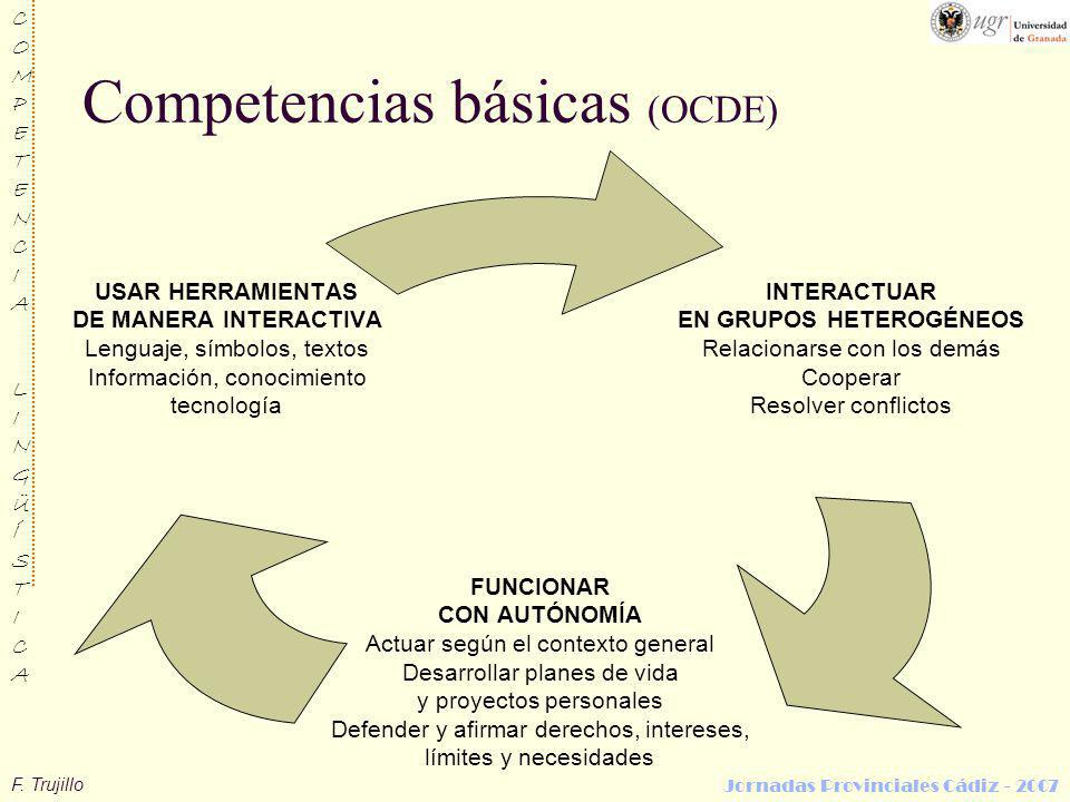 F. Trujillo COMPETENCIALINGÜÍSTICACOMPETENCIALINGÜÍSTICA Jornadas Provinciales Cádiz - 2007 Competencias básicas (OCDE) INTERACTUAR EN GRUPOS HETEROGÉ