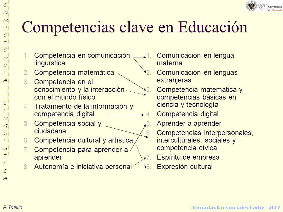 F. Trujillo COMPETENCIALINGÜÍSTICACOMPETENCIALINGÜÍSTICA Jornadas Provinciales Cádiz - 2007 Competencias clave en Educación 1. Competencia en comunica