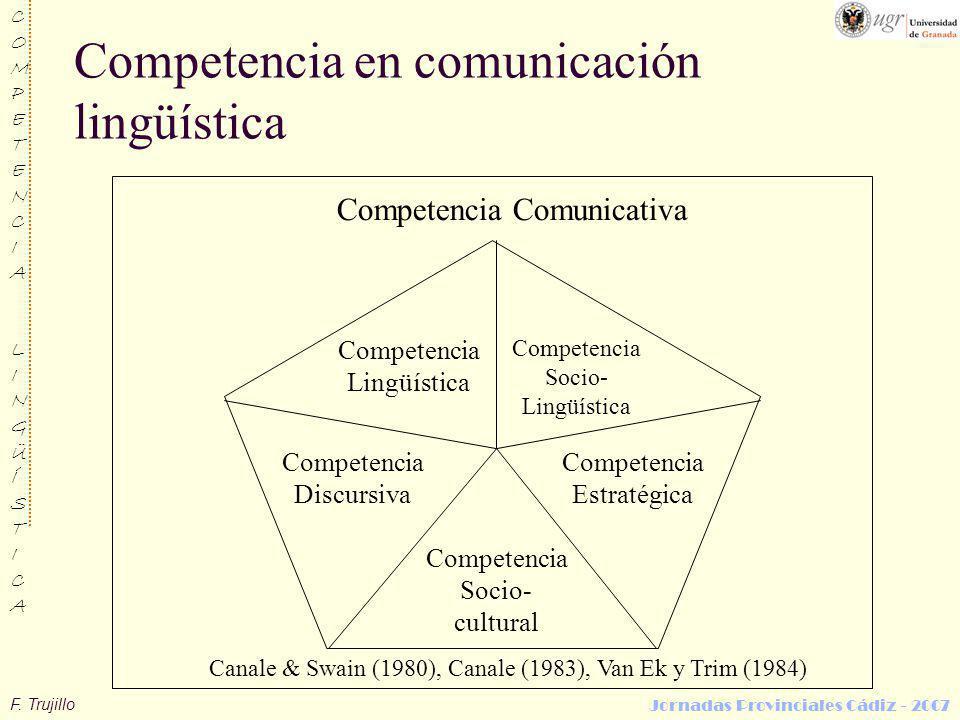 F. Trujillo COMPETENCIALINGÜÍSTICACOMPETENCIALINGÜÍSTICA Jornadas Provinciales Cádiz - 2007 Competencia en comunicación lingüística Competencia Comuni