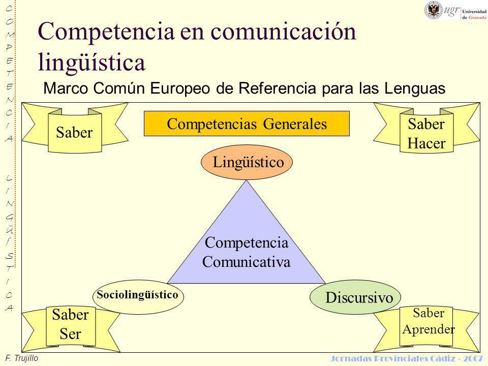 F. Trujillo COMPETENCIALINGÜÍSTICACOMPETENCIALINGÜÍSTICA Jornadas Provinciales Cádiz - 2007 Competencia en comunicación lingüística Marco Común Europe