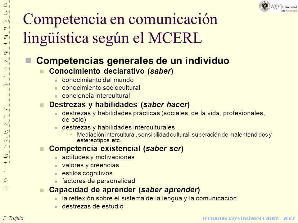 F. Trujillo COMPETENCIALINGÜÍSTICACOMPETENCIALINGÜÍSTICA Jornadas Provinciales Cádiz - 2007 Competencia en comunicación lingüística según el MCERL Com